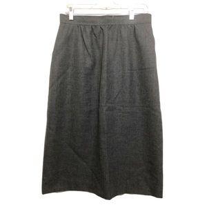 Vtg 100% Wool A-Line Midi Skirt Heather Gray 11/12